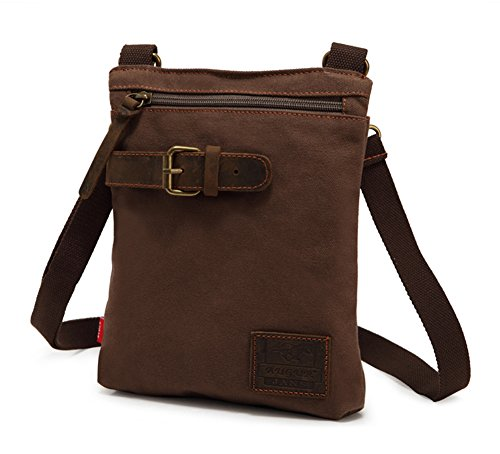 Canvas Long Snap Wallet (Collsants Vintage Canvas Crossbody Shoulder Bag lightweight Outdoor Travel Small Satchel Bag for Men and Women (Coffee))