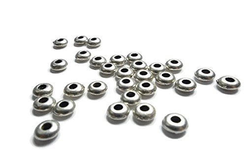 Foxy Findings Silver Plated Matte Round Saucer Bead Spacers Set of 15 - ()