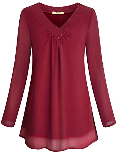 Miusey Red Blouse, Girls Soft Chiffon Material Casual V Neck Maternity Looser Fitting Business Front Pleated Breathable Layered Lovely Tunic Shirts Red L by Miusey (Image #1)