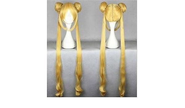 GSP-resistentes 100cm mujeres oro lindo caliente de la venta de calor de alta calidad rizado ondulado cosplay sailor moon peluca + coletas: Amazon.es: ...