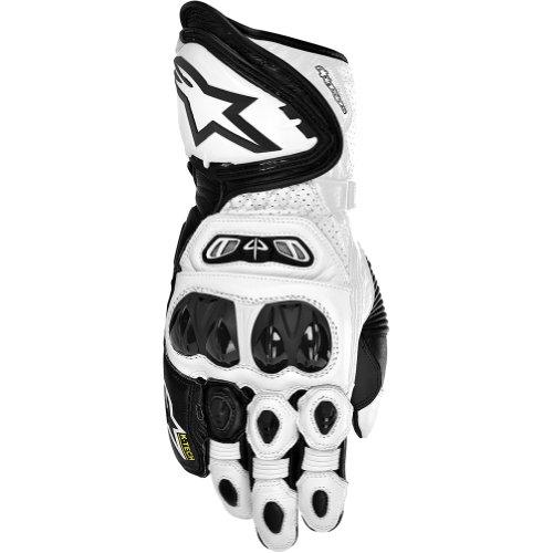 Alpinestars GP Tech Men's Leather Street Bike Racing Motorcycle Gloves - Black/White / Small