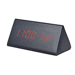 Alarm Clock, Han Shi Digital LED Clock Temperature Display Beep Sounds Control Electronic LED Alarm Clock Silent Non-ticking Office Home Wooden Kitchen Bedroom Living Room Clock (Red)