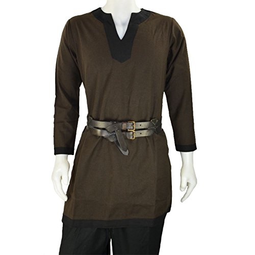 [Armor Venue: Medieval Tunic - Costume Shirt LARP Brown w/ Black Trim Large] (Medieval Shirt Adult Costumes)