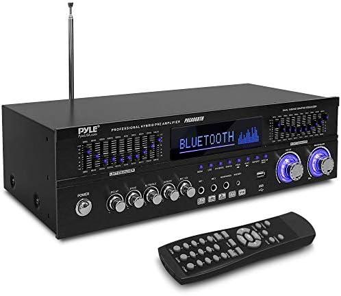 Bluetooth Hybrid Stereo Dwelling Pre-Amplifier – Dwelling Audio Rack Mount Desktop Stereo Pre-Amplifier Receiver w/Radio, USB/AUX/RCA/Mic, Optical/Coaxial, AC-3, DVD Inputs, Twin 10 Band EQ – Pyle PREA86BTH