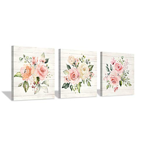Pink Floral Canvas Wall Art: Bloom Roses Bouquet Pictures Artwork for Kitchen Bathrooms (12