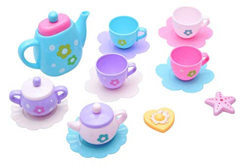 (PowerTRC 21 Piece Royal Tea Party Set with Kettle, Cups, Spoons, Saucers, Creamer, and Sugar Bowl)