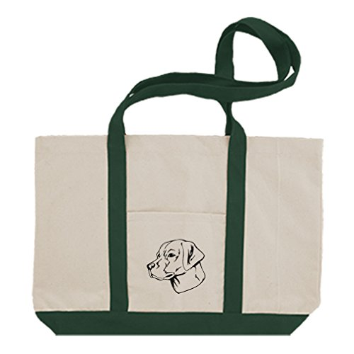 Retriever Tote Bag (Cotton Canvas Boat Tote Bag Labrador Retriever Head Black By Style In Print | Green)