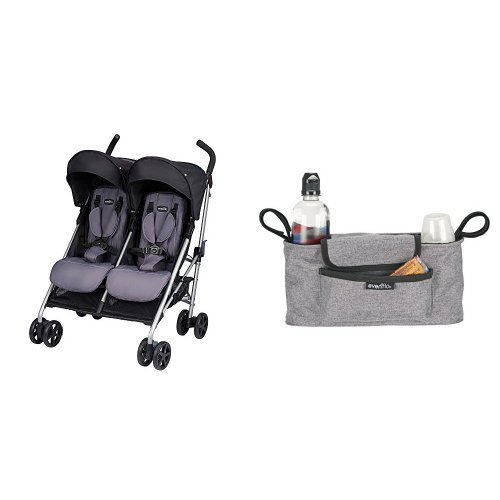 Evenflo Minno Twin Double Stroller, Glenbarr Grey with Universal Stroller Organizer