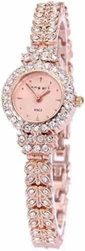 King Girl royal rose gold bracelet watch women top brand unique full crystal diamonds for ladies quartz round - pink dial