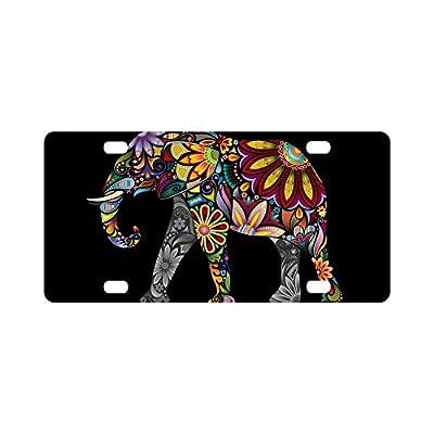 INTERESTPRINT Mandala Floral Elephant Metal License Plates, Car Tag Decoration for Woman Man - 12 x 6 Inch: Automotive
