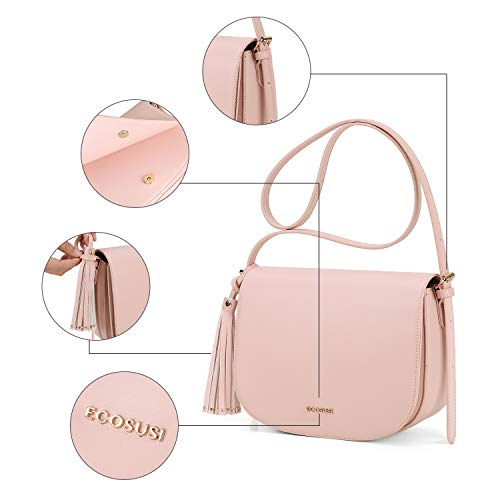 Front Pocket Tassel Crossbody ECOSUSI with and Saddle Shoulder Bag Pink Women's Purse qnvB0gZz