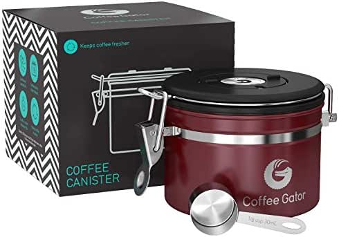Coffee Canister - Coffee Gator Stainless Steel Coffee Container - Fresher Beans and Grounds for Longer - Date-Tracker, CO2-Release Valve and Measuring Scoop - Small, Red