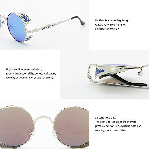 Marco Redondas Lente AMZTM Sol Hielo Steampunk Retro Azul Polarizadas De Pequeña Gafas Plateado w6zt67q