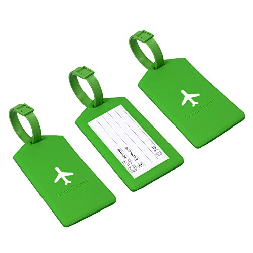 Wuhostam Luggage tags Silicone Travel Suitcase Identifier Business Card Holder 3 Pack