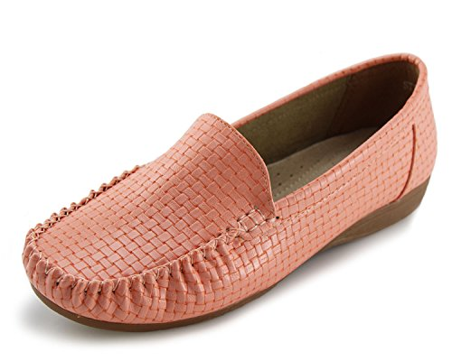 - Jabasic Women's Slip-on Loafers Flat Casual Driving Shoes(8, Pink)