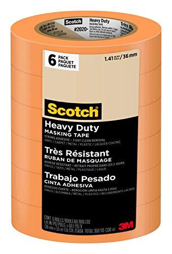 Scotch Masking Tape Heavy Duty,  1.41 in x 60 yd, 2020+, 6 - Carpet Tape Masking