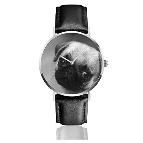 - Dfsdfkj Pug Puppy Dog Leather Watch 1.5 Inch,Imported Quartz Movement, Silver Stainless Steel Case,Durable and Scratch-Resistant Mineral Crystal Dial Window