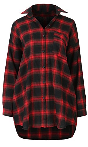 - ililily Women Two Tone Plaid Checkered Lightweight Cotton Shirt Trucker Jacket , Red Plaid Checkered