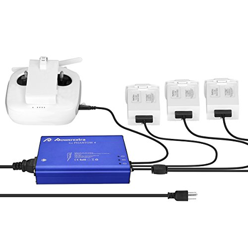Powerextra [Upgrade Grounded] Phantom 4 Series 4 in 1 Intelligent Rapid Multi Battery Charger Hub (Charge 3 Batteries & Remote Controller) for DJI Phantom 4/4 Advanced/4 Pro V2.0/ 4 Pro Plus Obsidian