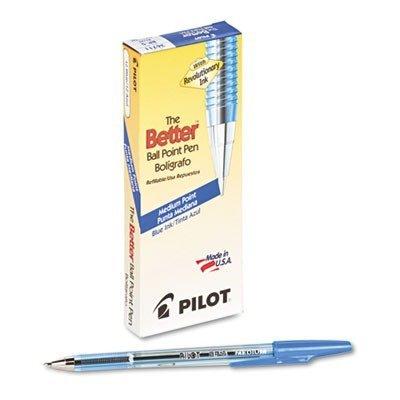 Pilot Better Ball Point Stick Pen, Blue Ink, 1mm, Dozen