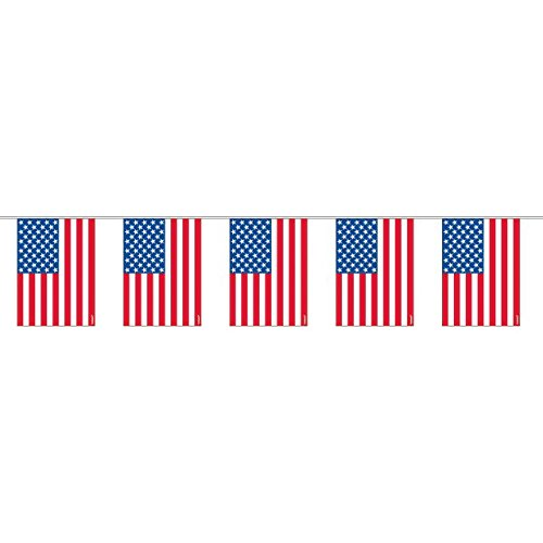 Amscan Old Glory Fourth of July Party Flag Garland Decoration (1 Piece), Multi Color, 11.3 x 7