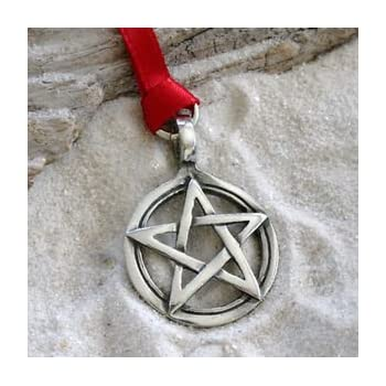 Pewter PAGAN PENTAGRAM WICCA Christmas ORNAMENT Holiday
