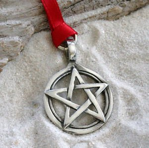 Pewter Pentagram Pagan Wiccan Pentacle Christmas Ornament and Holiday Decoration