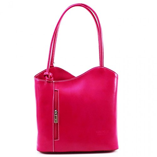 Shoulder Womens Fuchsia LeahWard Made Handbag BackPack Italian Leather or Real Hand gwq46w
