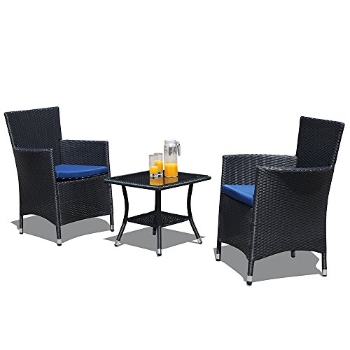 Black Rattan - Patiorama Patio Porch Furniture Set 3 Piece PE Black Rattan Wicker Chairs Blue Cushion Glass Coffee Table Outdoor Garden Furniture Sets