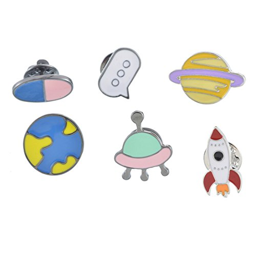 - MJartoria 6 Pcs Star Rocket Patch Cartoon Brooch Pins Badges Set for Clothes Bags Backpacks (Stars 6PCS)