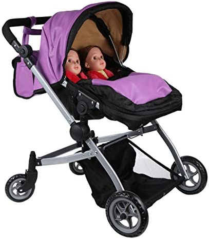 41Jj7WoP2FL. AC - Babyboo Luxury Leather Look Twin Doll Pram Foldable Double Doll Stroller With Basket, Convertible Seat, Adjustable Handle, Swiveling Wheels, And Free Carriage Bag (Multi Function) - 9651A Purple