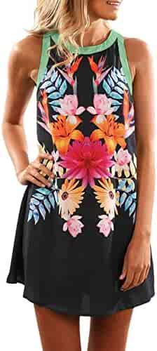 Asvivid Womens Summer Embroidered Floral Printed V Neck Sleeveless Casual Holiday Beach Short Dress