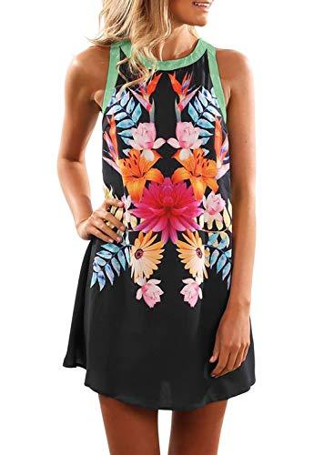 Asvivid Womens Boho Floral Printed Scoop Neck Sleeveless Loose Vacation Beach Mini Dress Sundress L Flower2 D-Black