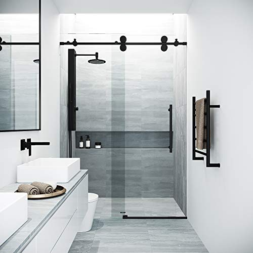 VIGO Elan Adjustable Frameless Sliding Shower Door, Matte Black, 60'' W x 74'' H