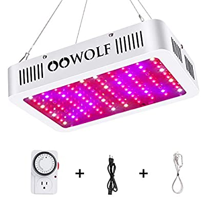 OOWOLF 70W LED Grow Light, with Mechanical Outlet Timer Replaced 1000W HPS light Full Spectrum Daisy Chain Plant Light for for Indoor Growing Herbs and Plants