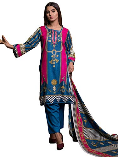 IshDeena Pakistani Dresses for Women Ready to Wear Salwar Kameez Ladies Suit - 3 Piece (Medium, Blue - Printed) (Best Pakistani Designers 2019)