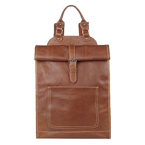 Genda 2Archer Men Women Leather Backpack Purse Travel Bag Fit 14 inch Laptop (Yellow Brown)