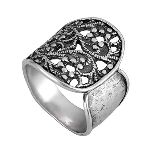 PZ Paz Creations 925 Sterling Silver Lace Textured Wrap Ring (8)
