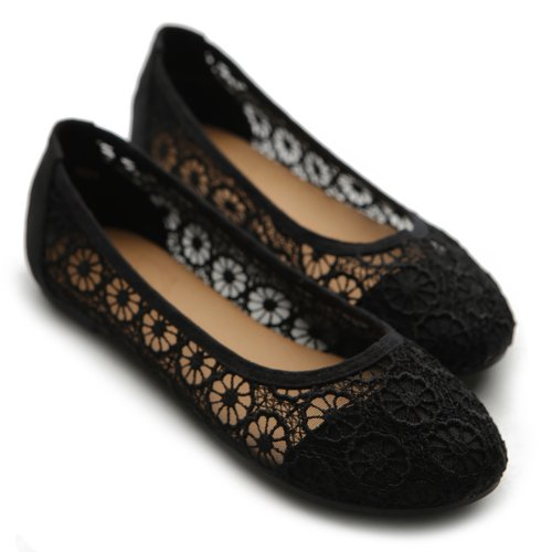 Floral Lace Black Shoe Flat Ollio Ballet Women's Breathable wqU4gg