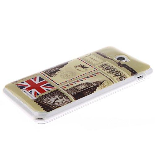 Sony Xperia E4 Funda,Ligero a Prueba de Choques Flexible Ultra Fino Suave TPU Parachoque Carcasa MAGQI Tecnología IMD Diseño Impreso Vendimia Serie Patrón [Absorción de Impacto] Resistente a los Araña Sobre de Londres