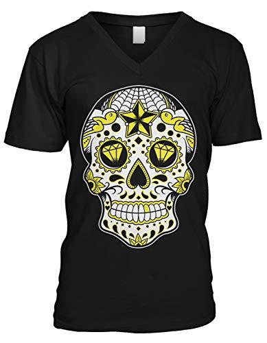 Amdesco Men's Dia De Muertos Sugar Skull, Day of The Dead V-Neck T-Shirt, Black Medium
