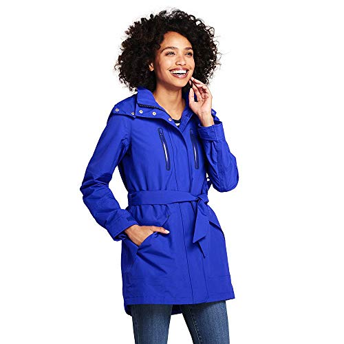 Lands' End Women's Lightweight Belted Squall Raincoat, L, Electric Blue