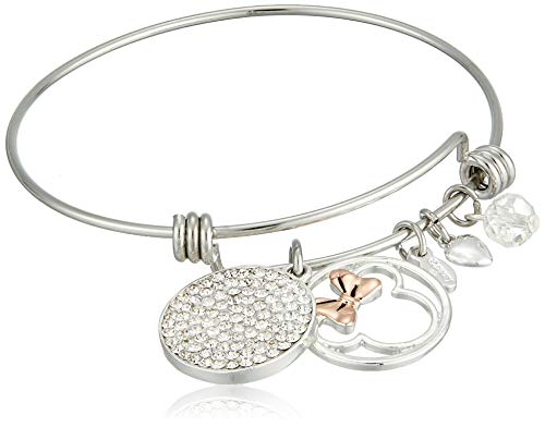 Disney Women's Stainless Steel Adjustable Bangle Bracelet with Silver Plated Crystal Minnie Some Days Call for Extra Sparkle Charm - Some Sparkle