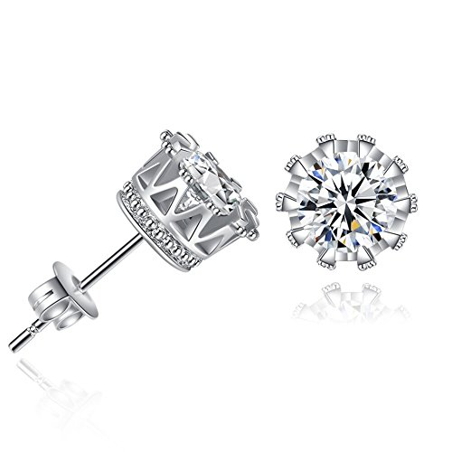 - Stud Earrings,18K Rose Gold Plated Stainless Steel Cubic Brilliant Cut Round CZ Studs Crystal Zirconia Stone Crystal fashion Hoop Earrings for Women Girls (2 Pack Sliver+Gold Rose)