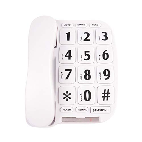 KerLiTar LK-P011W Big Button Corded Phone for Elderly with Handsfree Speakerphone/Hearing Aid Compatible(White) ()