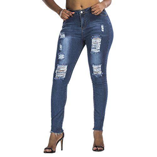 Jeans Hole Pantalon Denim Blue Pop Mode Pantalon Femme Grossartig 45UOwq5