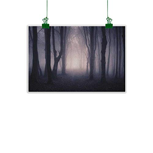 Canvas Wall Art for Bedroom Home Decorations Forest Path Through Dark Deep in Forest with Fog Halloween Creepy Twisted Branches Picture Pink Brown Ready to Hang for Decorations Decor W36