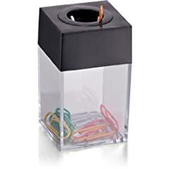 No fuss easy to use clip dispenser. Clip dispenser features magnetic top that hold clips for easy access. Magnetic top keeps paper clips in place for easy handling. Clear, see-through look give it a classic feel. Clips not included.