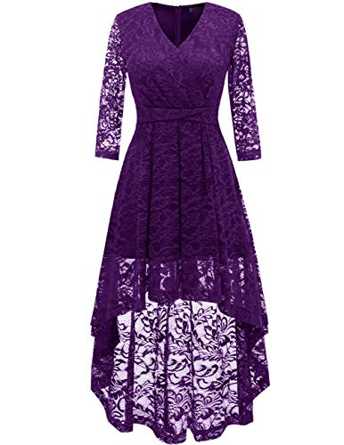 DRESSTELLS Women's Vintage Floral Lace Bridesmaid Dress 3/4 Sleeve Wedding Party Cocktail Dress Grape 2XL]()