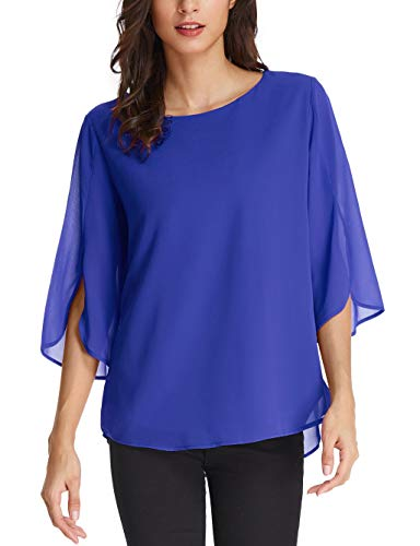 GRACE KARIN Solid Color Scoop Neck 3/4 Sleeve Chiffon Blouse Size S Blue from GRACE KARIN